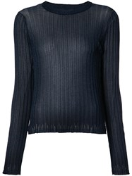 Helmut Lang Ribbed Sheer T Shirt Blue