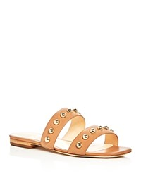 Isa Tapia Camelia Studded Double Strap Slide Sandals Natural Gold
