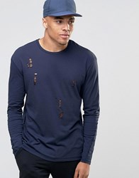Jack And Jones Long Sleeve T Shirt With Distressed Detail Navy Blazer