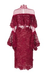 Costarellos Guipure Lace Tiered Ruffle Dress Burgundy