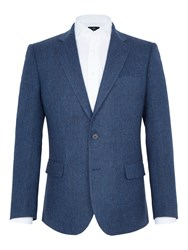 Paul Costelloe Salisbury Herringbone Wool Blazer Blue