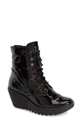 Fly London Women's 'Ygot' Platform Wedge Boot Black Patent Leather