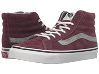 Vans Sk8 Hi Slim Vintage Suede Red Mahogany Skate Shoes Brown