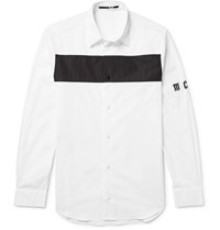 Mcq By Alexander Mcqueen Slim Fit Colour Block Cotton Poplin Shirt White