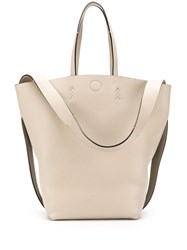 Bally Chevron Stitching Tote Bag Neutrals