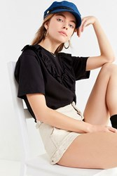 Urban Renewal Recycled Frill Front Tee Black