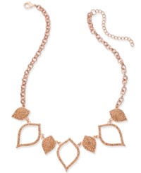 Inc International Concepts Rose Gold Tone Pave Navette Statement Necklace Created For Macy's