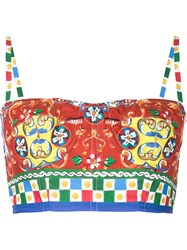 Dolce And Gabbana Carretto Siciliano Print Bustier Top Red