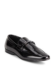 Versace Leather Almond Toe Loafers Black