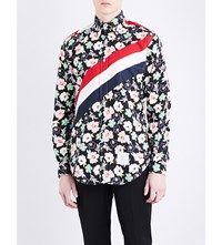 Thom Browne Floral And Stripe Print Classic Fit Cotton Shirt Black