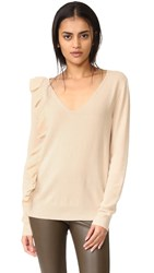 Elizabeth And James Odell Ruffle Long Sleeve Sweater Champagne