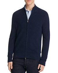 Michael Kors Rib Knit Zip Up Cardigan Midnight
