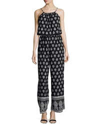 Romeo And Juliet Couture Sleeveless Printed Chiffon Jumpsuit Black White