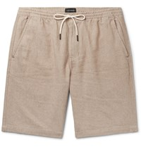 Club Monaco Slim Fit Linen And Cotton Blend Twill Drawstring Shorts Neutrals