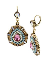 Betsey Johnson Multi Color Crystal And Bead Teardrop Earrings Pink Blue Gold