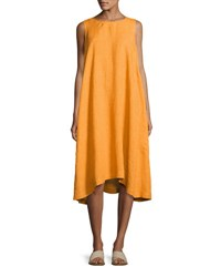 Eskandar Sleeveless A Line Linen Dress Rust