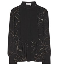 Chloe Embellished Silk Blouse Black