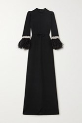 Andrew Gn Feather Trimmed Crystal Embellished Crepe Gown Black