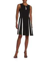 Taylor Pleated Fit And Flare Dress Black Ivory