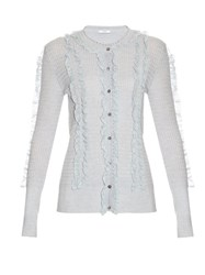 Erdem Tal Ruffle Front Cardigan Light Blue