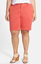 Plus Size Women's Sejour 'Addison' Stretch Twill Bermuda Shorts Coral Spice
