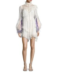 Marc Jacobs Feather Embellished Lace Mini Dress Ivory