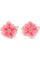 Kenneth Jay Lane Gold Plated Enamel And Crystal Earrings Pink