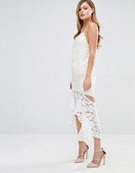 Dark Pink Cami Strap Midi Lace Dress With Side Cut Out Cream Nude White