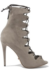 Schutz Leather Trimmed Suede Lace Up Sandals Mushroom