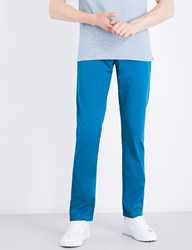 Boss Black Casual Tapered Stretch Cotton Chinos Turquoise Aqua