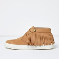 River Island Menslight Brown Leather Fringed Desert Boots