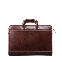 Maxwell Scott Bags The Barolo A4 Leather Conference Folder Briefcase Chocolate Brown