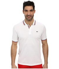 Lacoste Live Short Sleeve Semi Fancy Pique Shirt White Navy Blue White Red Men's Short Sleeve Knit