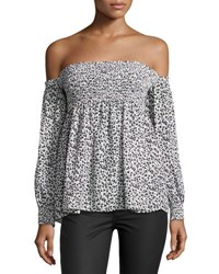 Romeo And Juliet Couture Floral Print Off The Shoulder Top White Black