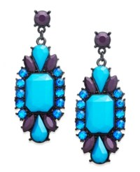 Bar Iii Jet Tone Teal And Blue Rectangular Stone Drop Earrings