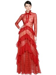 Zuhair Murad Ruffled Lace And Chiffon Dress