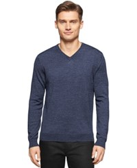 Calvin Klein Big And Tall Merino V Neck Sweater Total Eclipse Heather