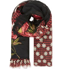 Simone Rocha Floral Patchwork Silk Scarf Black And Red