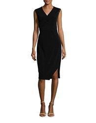 T Tahari Harley Embellished Surplice Dress Black