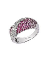 Le Vian Pleated Pink Sapphire Vanilla Diamond And 14K White Gold Ring