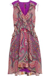 Etro Ruffled Floral Print Silk Dress Pink