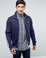 Fred Perry Sports Authentic Track Jacket In Navy Carbon Blue