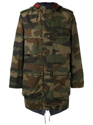 Moncler Camouflage Print Coat Green