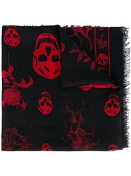 Alexander Mcqueen Skull And Badge Scarf Men Silk Wool One Size Black