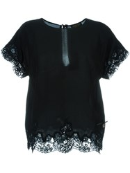 Twin Set Lace Trim Shortsleeved Top Black