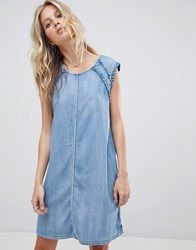 Replay Denim Dress With Ruffle Detail Blue
