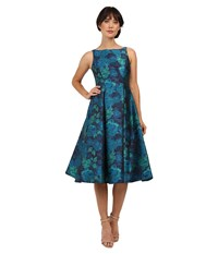 Adrianna Papell Jacquard Tea Length Party Dress Blue Multi Women's Dress