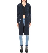 Moandco. Thunder Sequin Embellished Knitted Cardigan Majolica Blue
