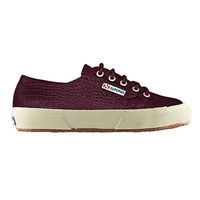 Superga 2750 Flat Lace Up Trainers Burgundy Croc