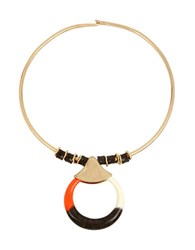 Robert Lee Morris Primal Connection Colorblocked Pendant Wire Collar Necklace